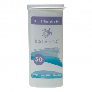 BALVEDA 3 in 1 Teststreifen Chlor, pH & Algenschutz, 50 Stück