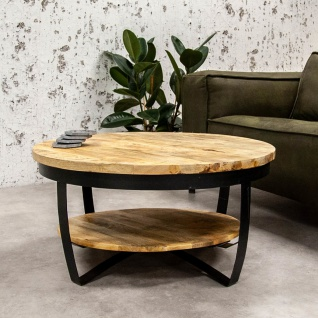 Baldo Runder Couchtisch Industrial Holz 90cm