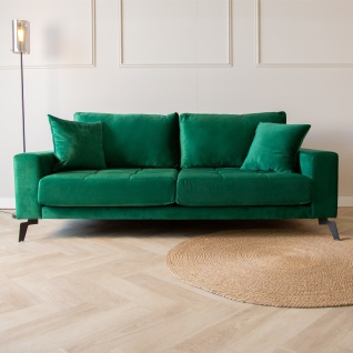 Brooks Sofa Industrial 2, 5-Sitzer Samt Grün