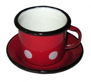 Best Sporting Mocca-Tasse mit Untertasse (2tlg.), 50 ml, rot mit weißen Punkten