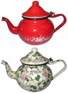Best Sporting Bauchige Teekanne mit Deckel, 0, 7 -1, 25 L, rot mit Blumeverzierung oder weiß mit Voll-Dekor Blumen