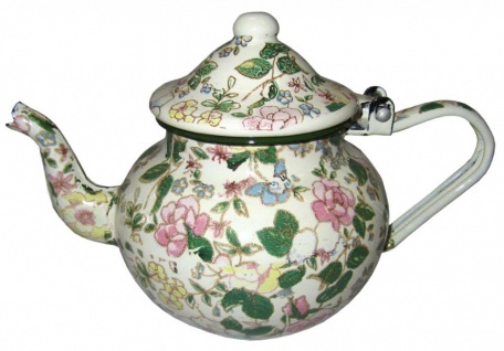 Best Sporting Bauchige Teekanne mit Deckel, 0, 7 -1, 25 L, rot mit Blumeverzierung oder weiß mit Voll-Dekor Blumen - Vorschau 3