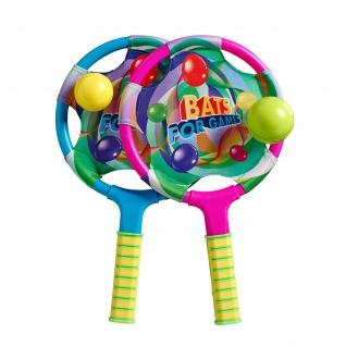 Strandspiel bestehend aus zwei Schlägern und zwei Bällen, Farben nach Zufall
