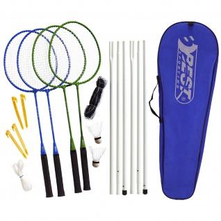 Best Sporting Badminton-Spiel Garnitur: Netz, 4 Schläger, 2 Badmintonbälle, Tasche