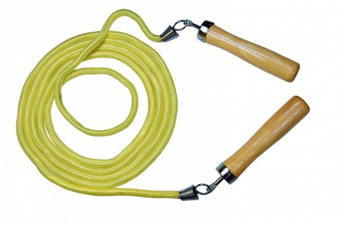 Best Sporting Springseil mit Holzgriffe, gelb