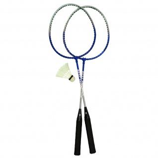 Best Sporting Badminton-Spiel Garnitur 2 Schläger + 1 Badmintonball, blau/silber oder rot/silber - Vorschau 3