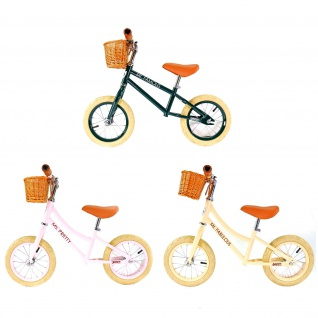 Best Sporting Laufrad Retro für Kinder ab 3 Jahren, mit Klingel und Korb, 12 Zoll Räder