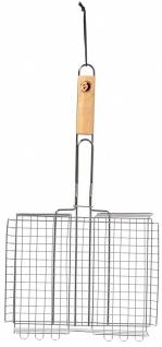 Best Sporting Grillkorb mit Holzgriff, 31 x 24 x 6 cm, verstellbar