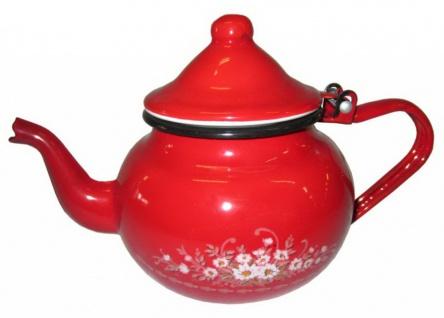 Best Sporting Bauchige Teekanne mit Deckel, 0, 7 -1, 25 L, rot mit Blumeverzierung oder weiß mit Voll-Dekor Blumen - Vorschau 2