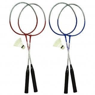 Best Sporting Badminton-Spiel Garnitur 2 Schläger + 1 Badmintonball, blau/silber oder rot/silber - Vorschau 1