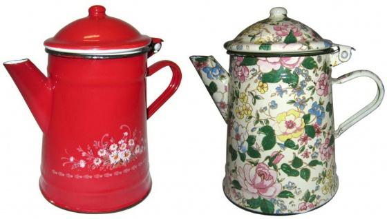 Best Sporting Kaffee-Kanne mit Deckel, 0, 5 oder 1, 0 L, rot oder Blumendekor