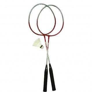 Best Sporting Badminton-Spiel Garnitur 2 Schläger + 1 Badmintonball, blau/silber oder rot/silber - Vorschau 2