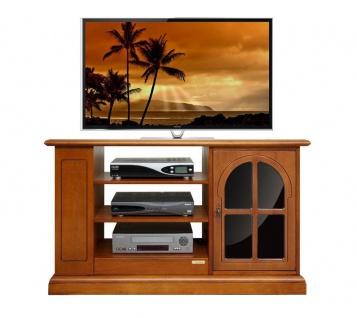 Schrank TV aus Holz mit Schwarzglas