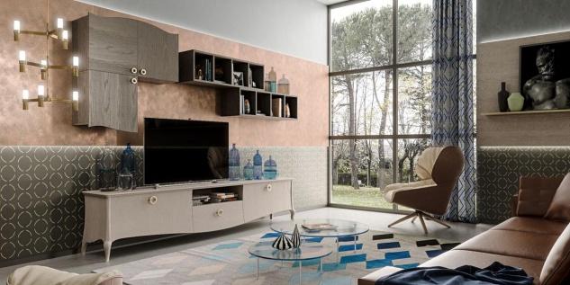 Wohnwand design modern aus Holz Original Wood