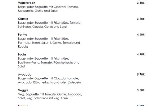 Speisekarte - Unsere Snacks