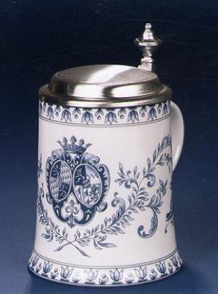 Porzellan Krug Wappen blau