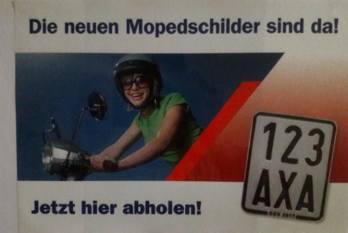 Mopedschilder für das Verkehrsjahr 2017/2018