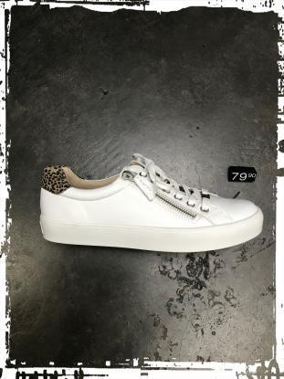 Caprice - Ledersneaker in weiß, mit Reißverschluss und Wechselfussbett