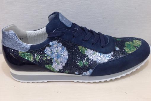 Paul Green - blauer Sneaker in Materialmix
