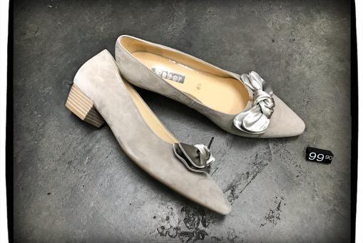 Gabor - eleganter Pumps mit mittelhohem Absatz .... grau-beiges Veloursleder