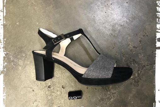 Gabor - elegante Sandalette in Silber / Schwarz
