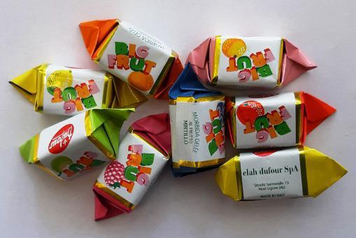 "Italienisches Frucht-Gileebonbon ""Big Frut"" in verschiedenen Geschmacksrichtungen"