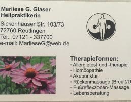 Heilpraktikerin Marliese G. Glaser in Reutlingen