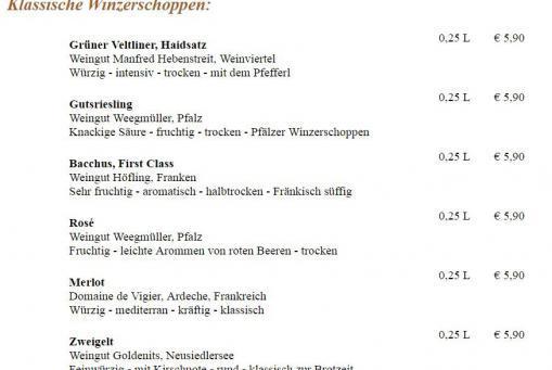 Weinkarte - Klassische Winzerschoppen